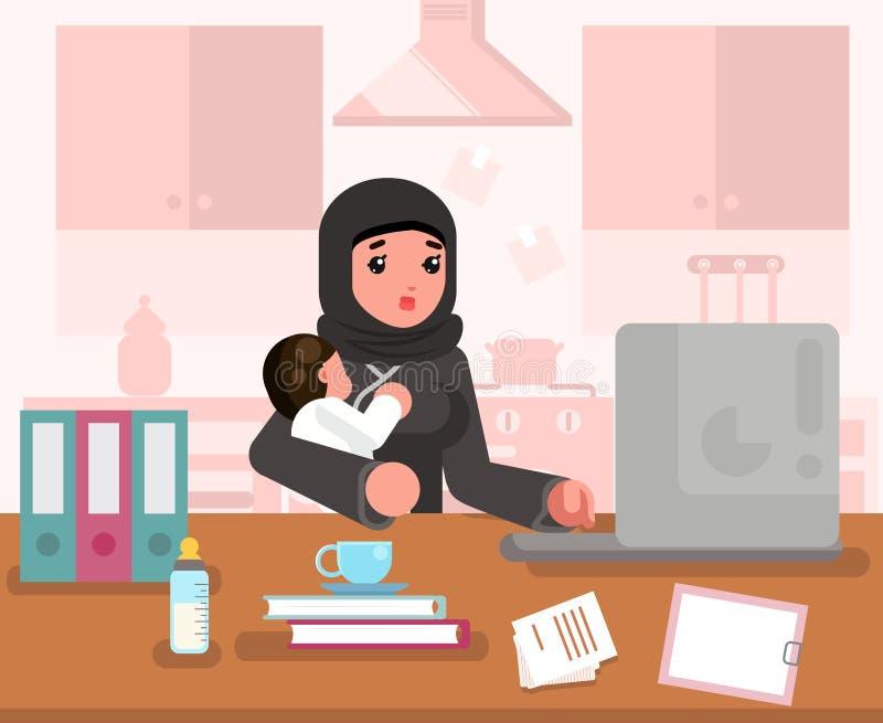 Femme de étude travaillante arabe de mère avec le concept de construction plat de robe traditionnelle intérieure de fond de pièce illustration libre de droits