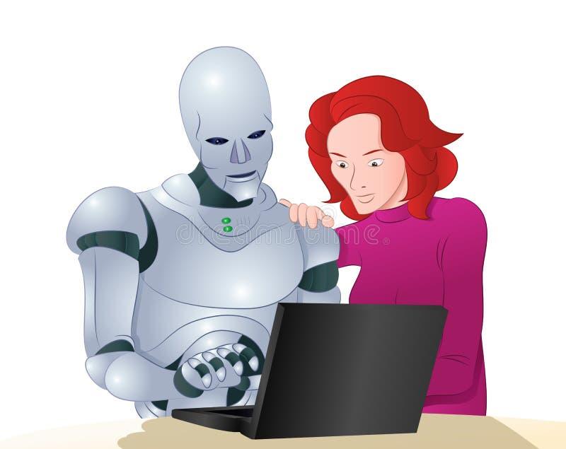 Femme de aide de robot de Droid apprenant l'ordinateur portable illustration stock