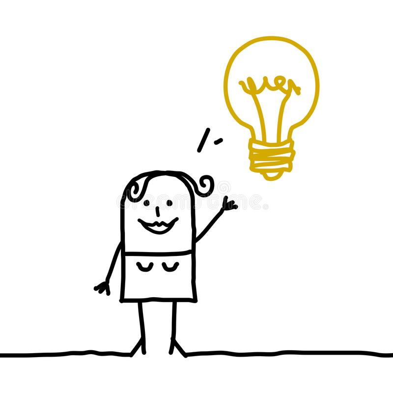 Femme de bande dessinée avec l'ampoule illustration stock