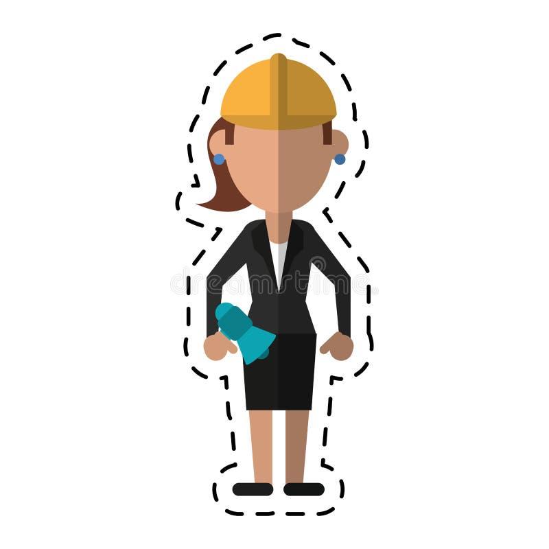 Femme de bande dessinée avec le casque de travail de mégaphone illustration stock