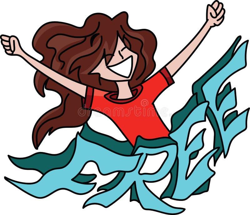 Femme de bande dessinée avec de longs cheveux se tenant derrière un texte libre avec ses bras grands ouverts, se sentant heureu illustration stock