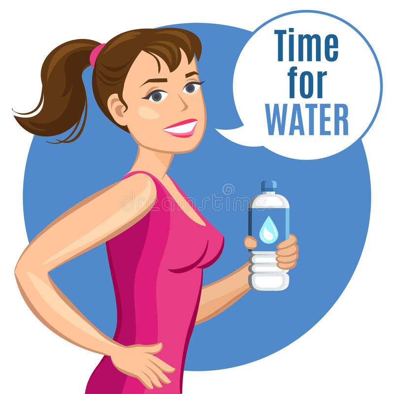 Femme de bande dessinée avec une bouteille de l'eau, de boisson saine et de forme physique illustration libre de droits