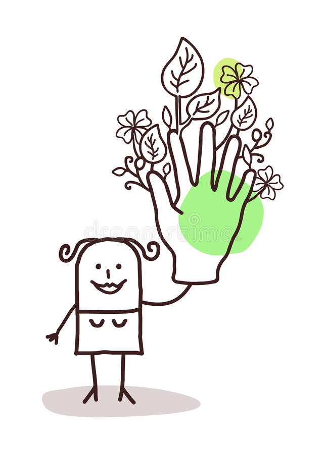 Femme de bande dessinée avec une grande main verte illustration libre de droits