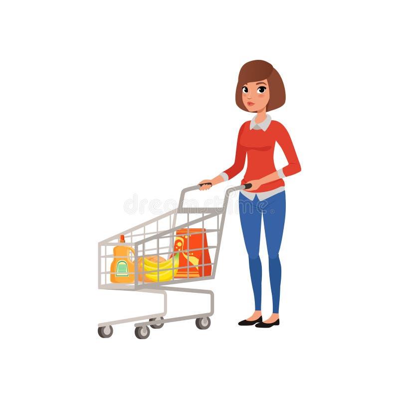 Femme de bande dessinée tenant le chariot proche de supermarché avec des produits Achat dans l'épicerie Jeune fille dans le chemi illustration libre de droits