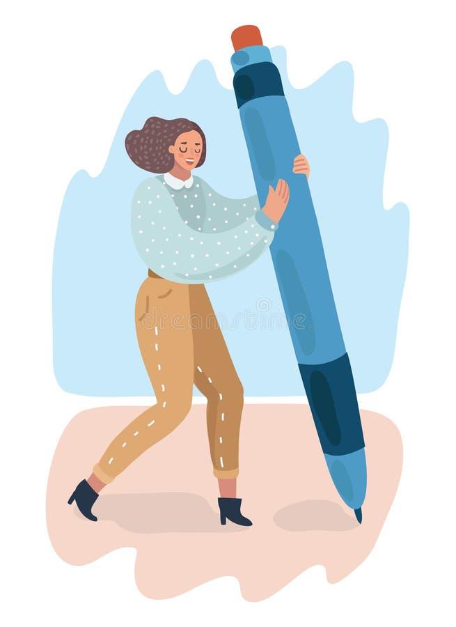 Femme de bande dessinée tenant le grand crayon et le dessin illustration libre de droits
