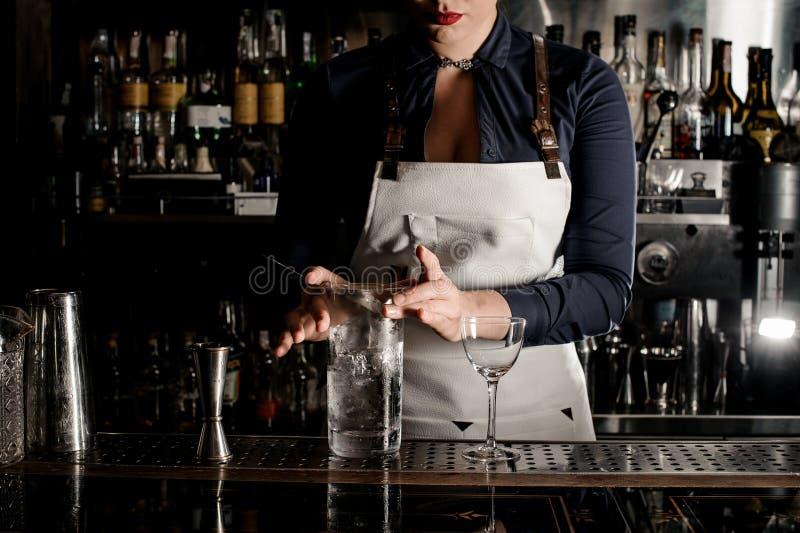 Femme de barman avec l'encolure profonde remuant le cocktail photographie stock