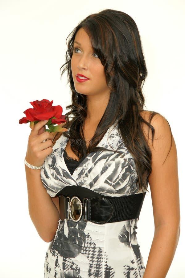 Femme de beauté avec la rose de rouge photo stock