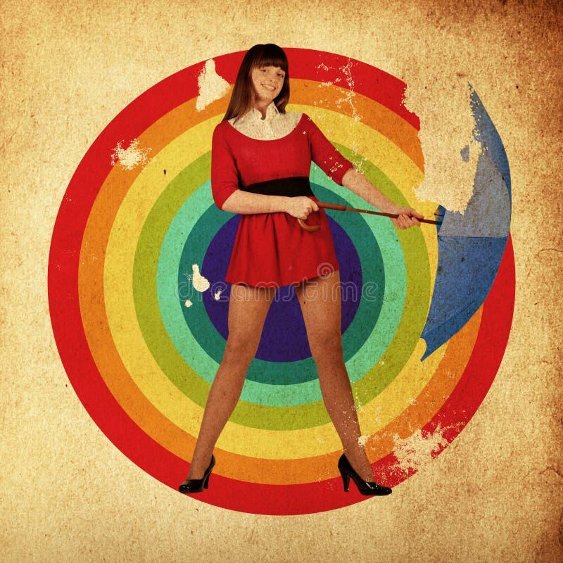 Femme de beauté avec le parapluie images libres de droits