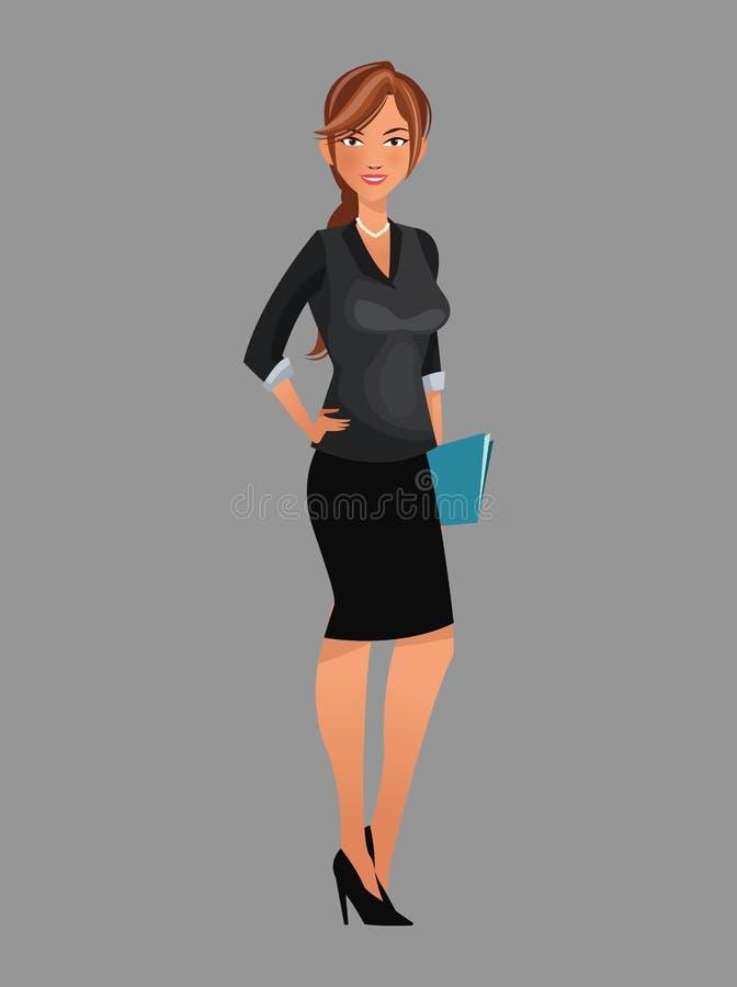 Femme de beauté travaillant le dossier noir de dossier de costume illustration de vecteur