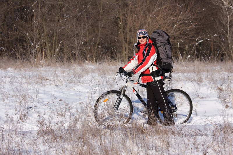 femme de bicyclette photographie stock libre de droits