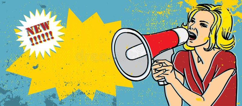 Femme de blonde de mégaphone illustration libre de droits