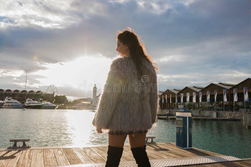 Femme de brune avec le portrait de manteau de fourrure se tenant dehors, avec le soleil ? l'arri?re-plan photo libre de droits