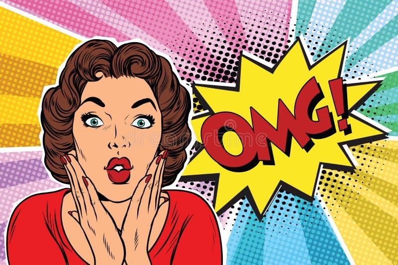 Femme de brune d'art de bruit d'OMG illustration libre de droits