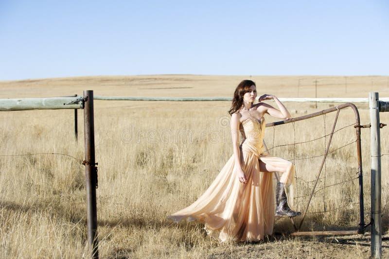 Femme de brune dans la robe de couture dans le domaine photographie stock