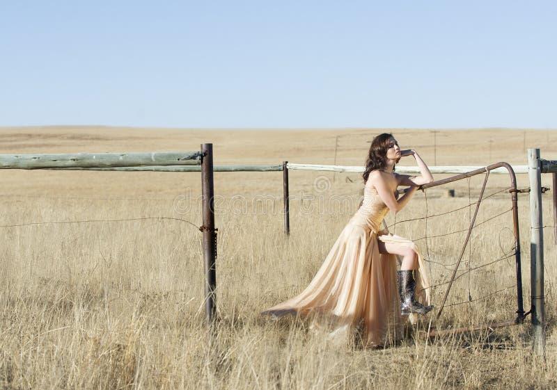 Femme de brune dans la robe de couture dans le domaine photo stock