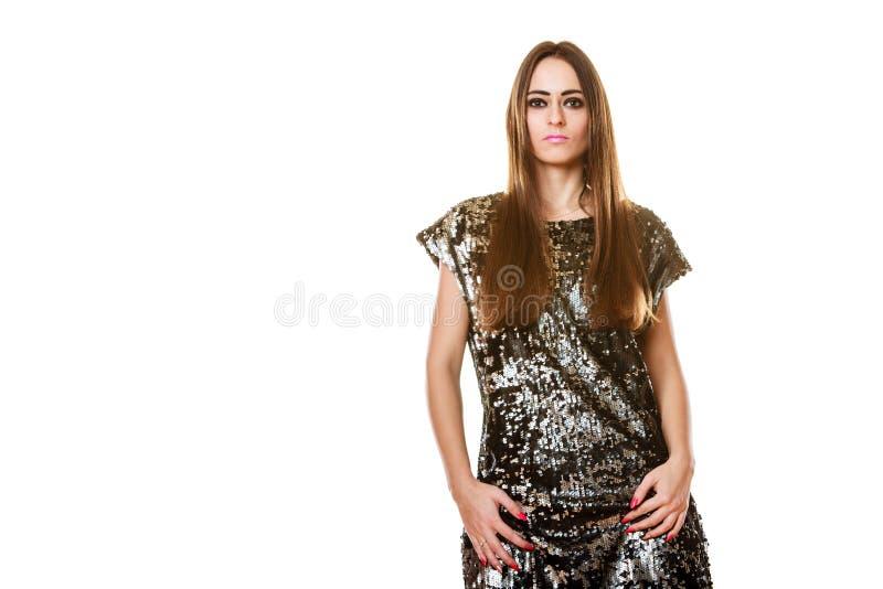Femme de brune de portrait avec le maquillage foncé images stock