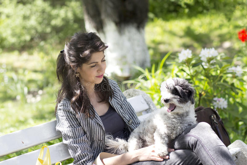 Femme de brune s'asseyant sur un banc blanc avec son chien blanc photos stock