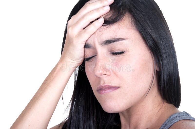 Femme de Brunette avec la migraine photo stock