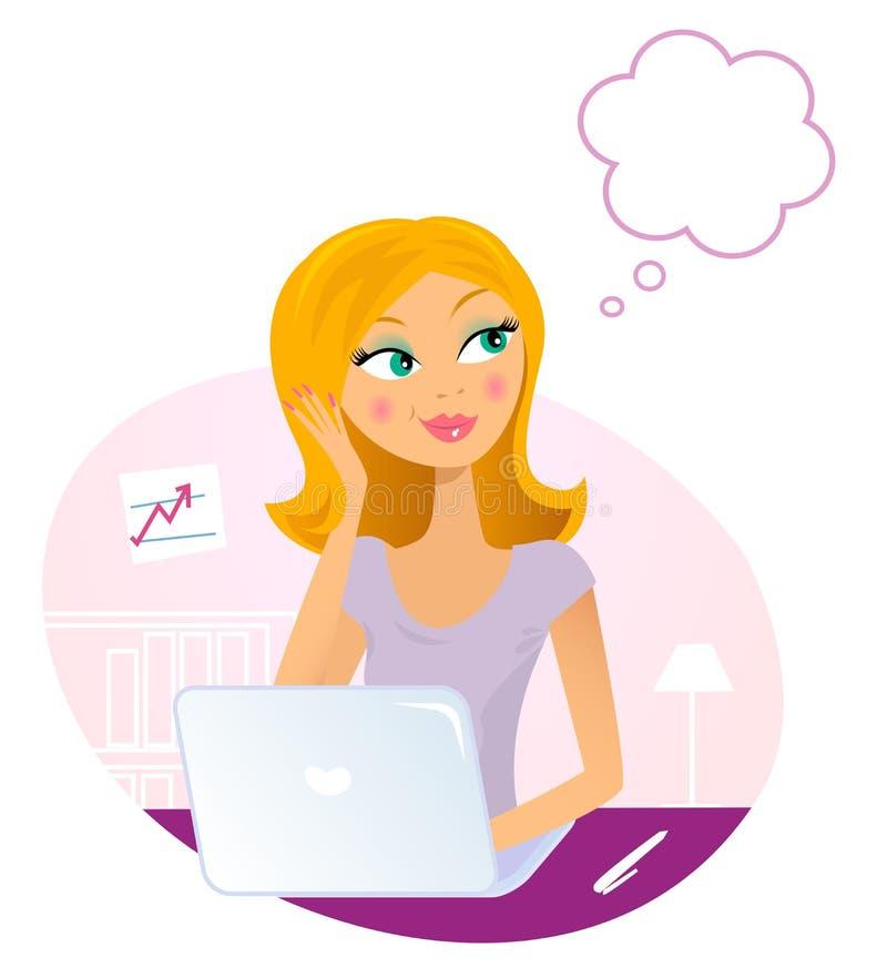 Femme de bureau avec l'ordinateur portatif rêvant de quelque chose illustration libre de droits