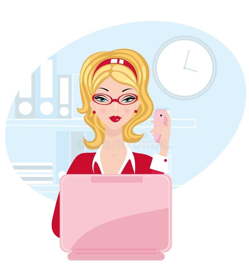 Femme de bureau de nana illustration de vecteur