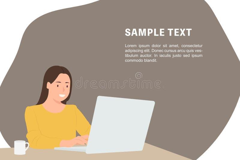 Femme de calibre de bannière de conception de personnages de personnes de bande dessinée à l'aide de l'ordinateur portable et se  illustration de vecteur