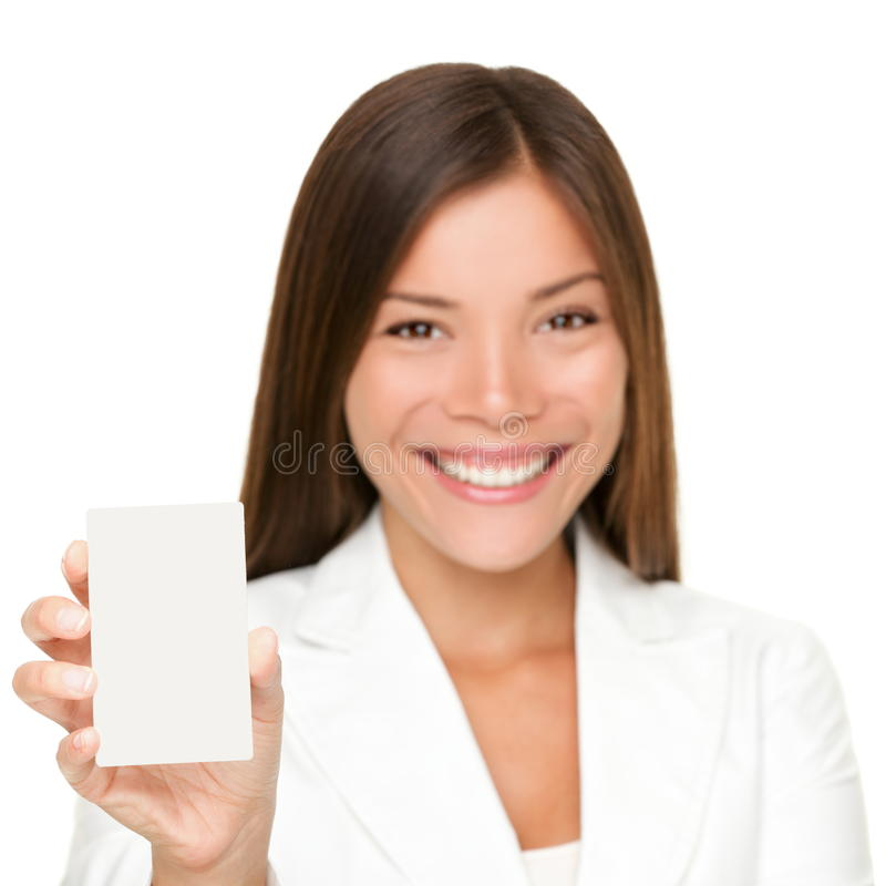 Femme de carte de signe sur le blanc photographie stock libre de droits