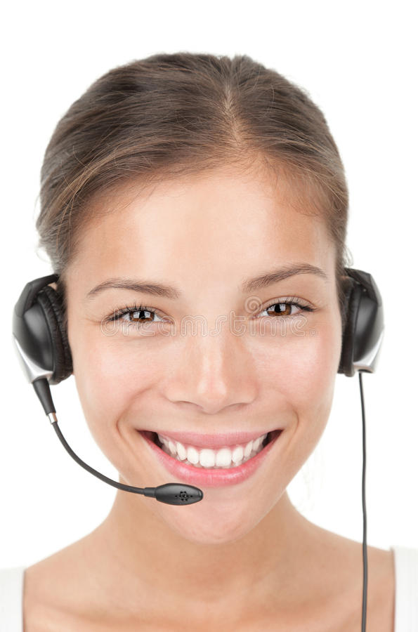 Femme de centre d'attention téléphonique photos stock