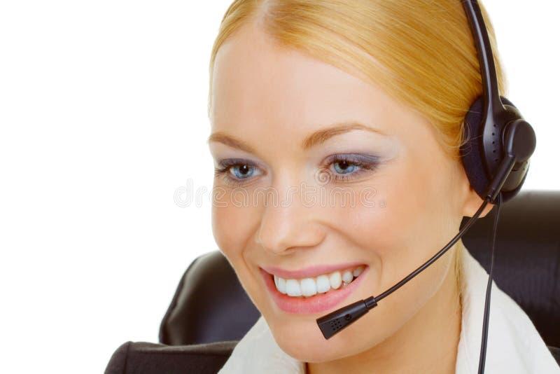 femme de centre d'attention téléphonique images stock