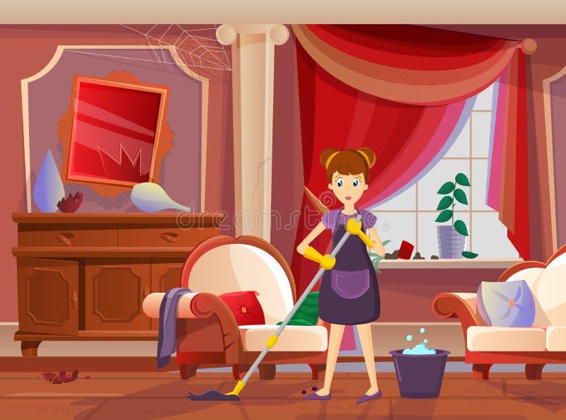 Femme de charge de fille, femme au foyer, avec le balai et le chiffon, maison sale nettoyée illustration de vecteur