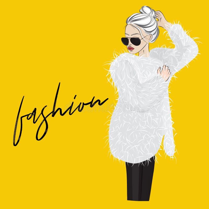 Femme de charme de vecteur dans le manteau de fourrure avec des lunettes de soleil Illustration de mode de style de rue Conceptio illustration libre de droits