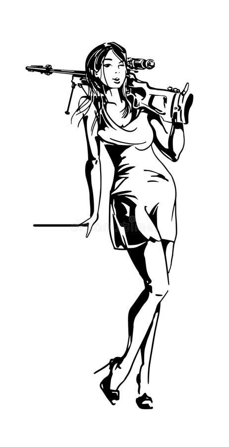 Femme de chasseur Fille sexy de tueur sur des talons hauts avec l'arme à feu sur son épaule illustration libre de droits