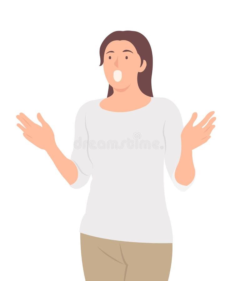 Femme de conception de personnages de personnes de bande dessinée étonnante à quelque chose avec la bouche ouverte illustration de vecteur