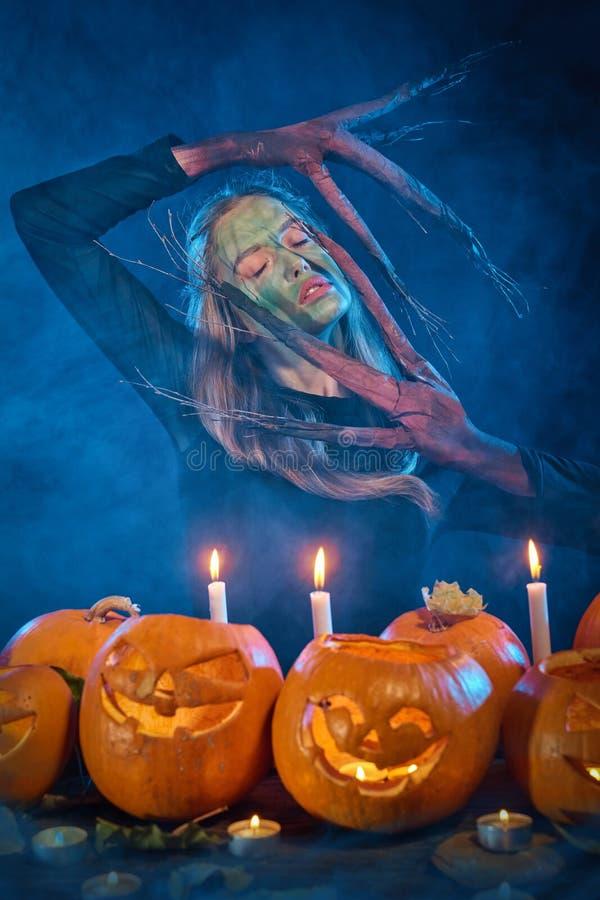 Femme de costume de Halloween, fille d'arbre avec des potirons image libre de droits