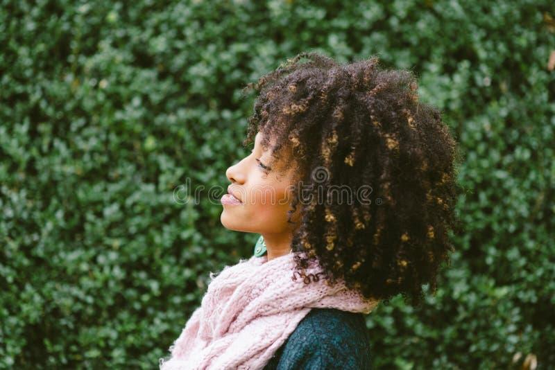 Femme de couleur avec le portrait Afro de coiffure image stock