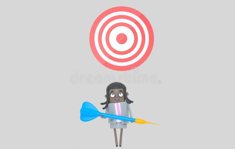Femme de couleur d'affaires tenant un grand dard bleu dartboard D'isolement illustration libre de droits