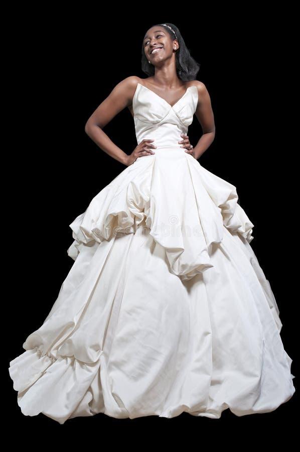 Femme de couleur dans la robe de mariage photos libres de droits