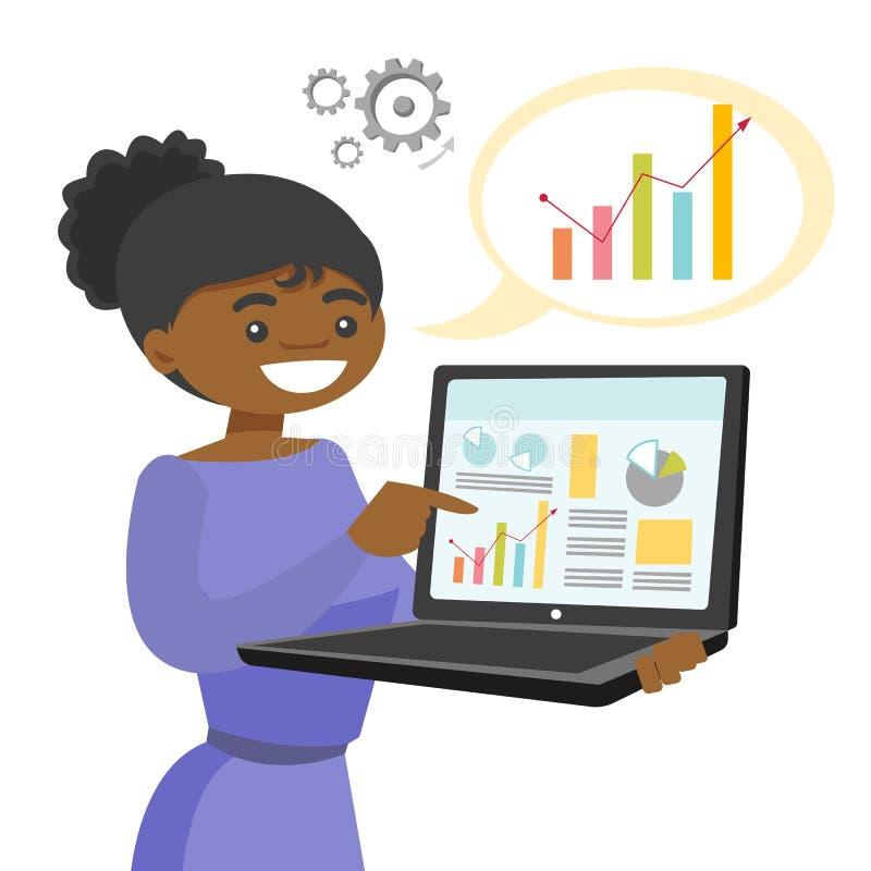 Femme de couleur montrant le rapport sur l'ordinateur portable illustration de vecteur