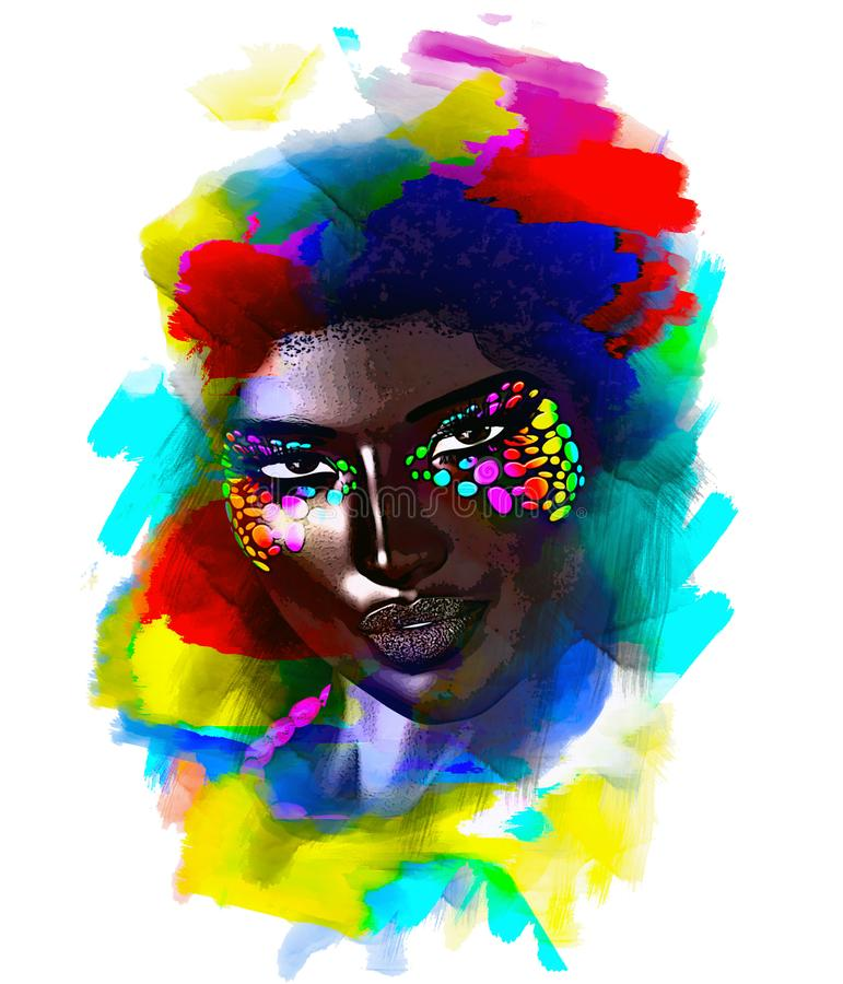 Femme de couleur mystérieuse Un fond peint par résumé coloré crée une base dont ce beau visage avec le multicolore audacieux illustration de vecteur