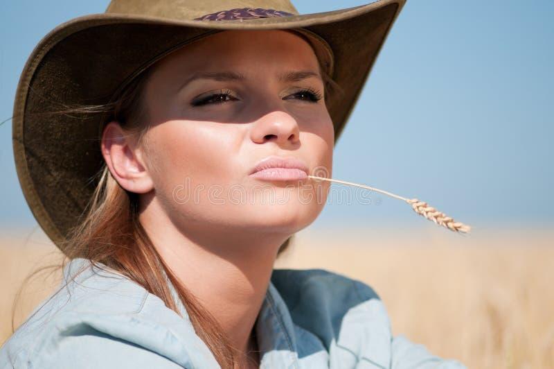 Femme de cowboy dans le domaine de blé de pays image stock