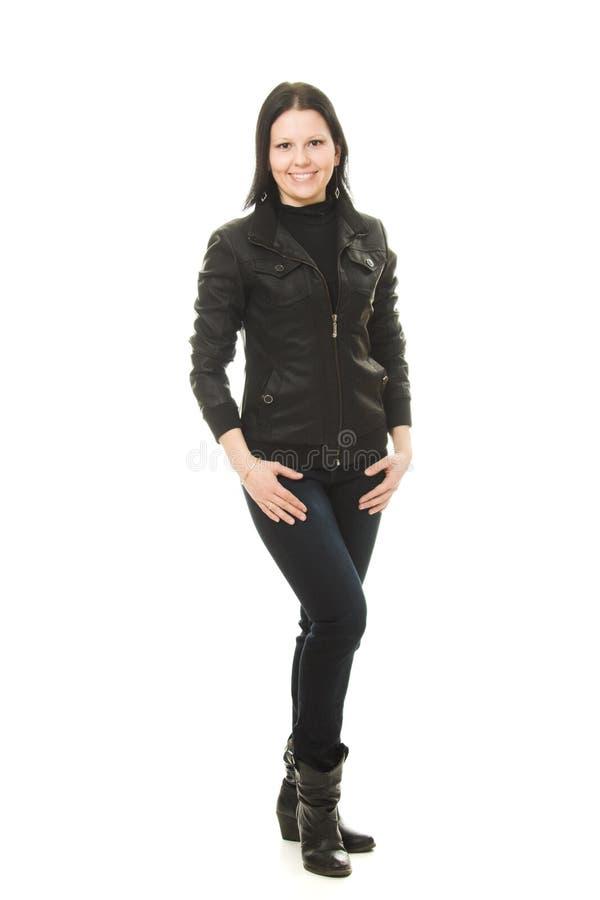 Femme de cowboy sur un fond blanc. photographie stock libre de droits