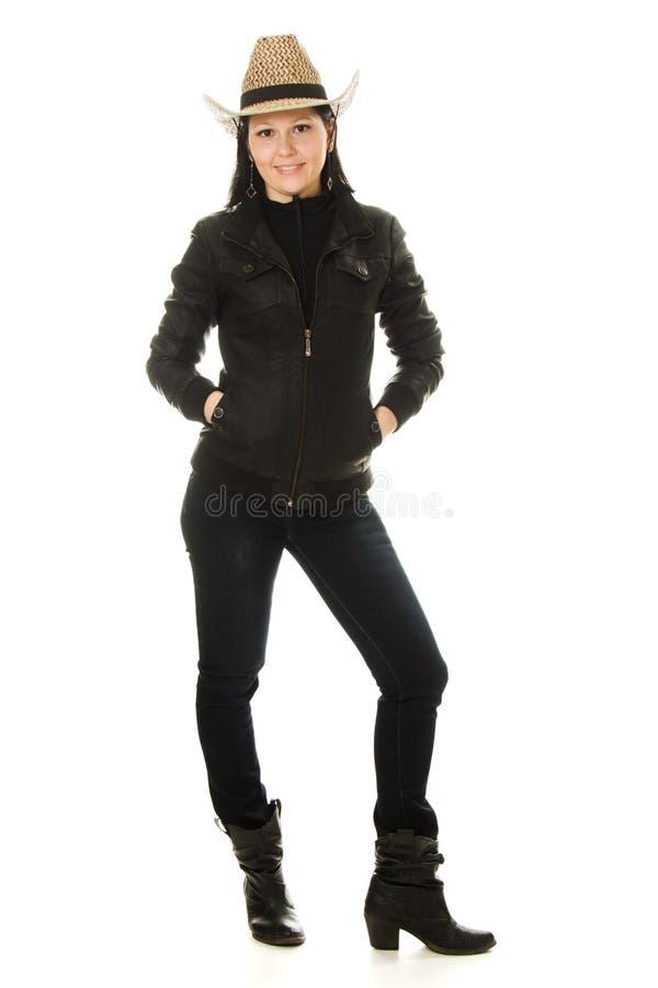 Femme de cowboy sur un fond blanc. photos stock