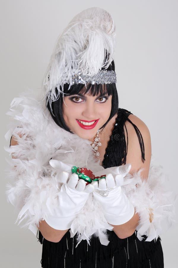 Femme de cru avec des puces de casino photos libres de droits