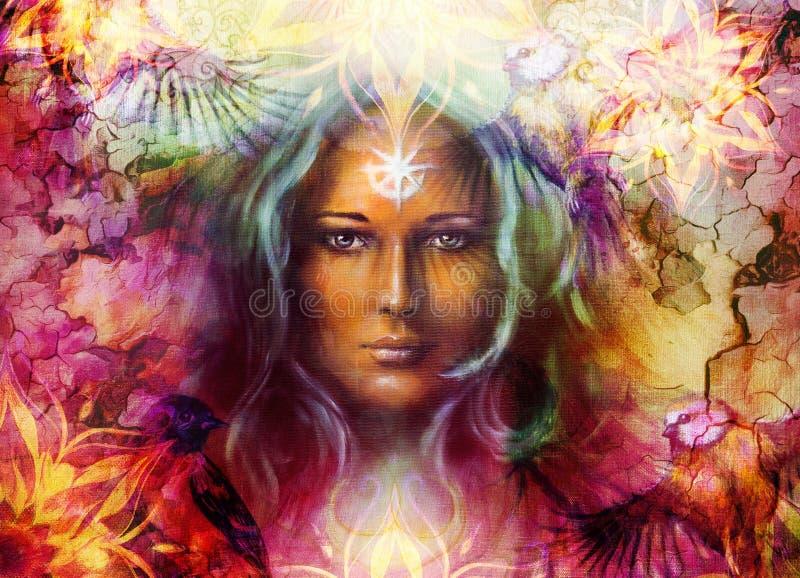 Femme de déesse de belle peinture avec l'ornamental illustration stock