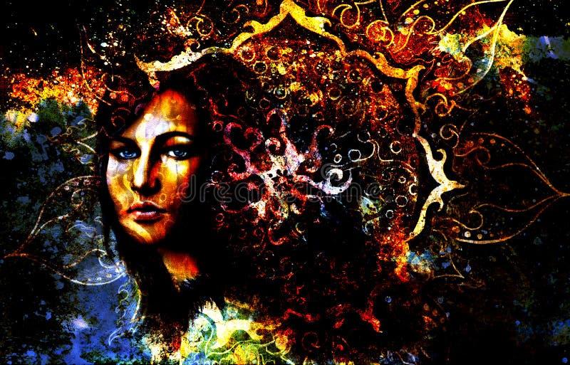 Femme de déesse et mandala ornemental oriental et illustration stock