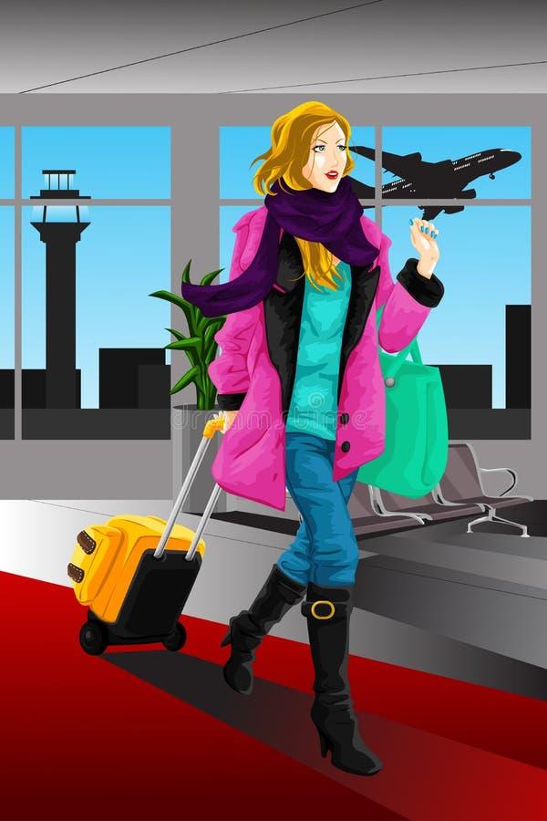 Femme de déplacement illustration de vecteur