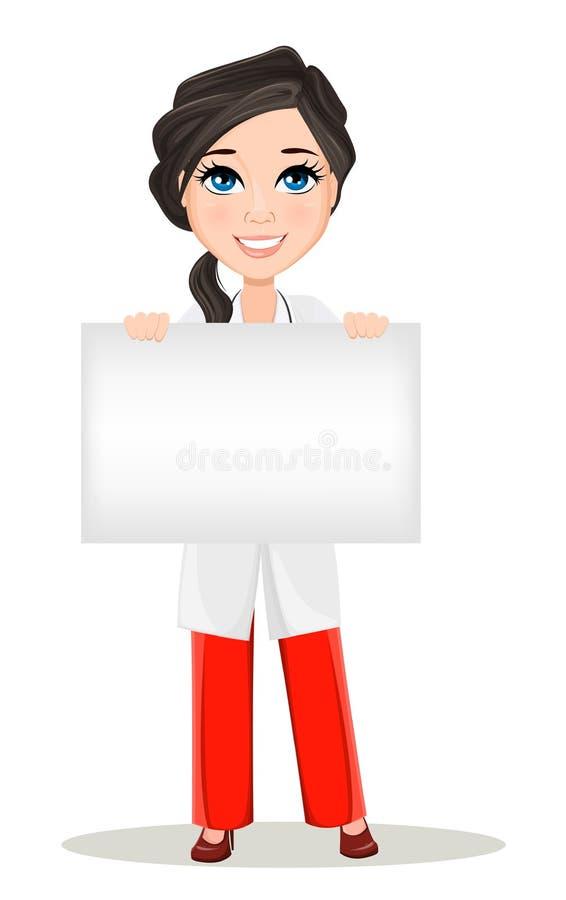 Femme de docteur avec le stéthoscope Caractère de sourire de docteur de bande dessinée mignonne dans la robe médicale tenant la p illustration libre de droits
