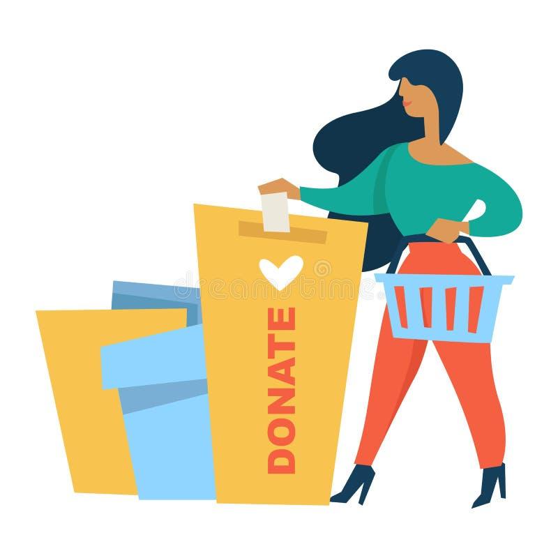 Femme de donation et de charité donnant l'aide financière de contrôle d'argent illustration de vecteur