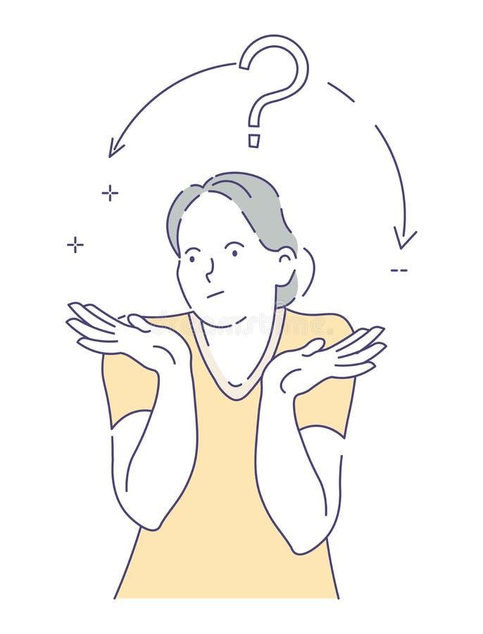 Femme de doutes hésitant ou prenant le caractère d'isolement par choix de décision illustration de vecteur