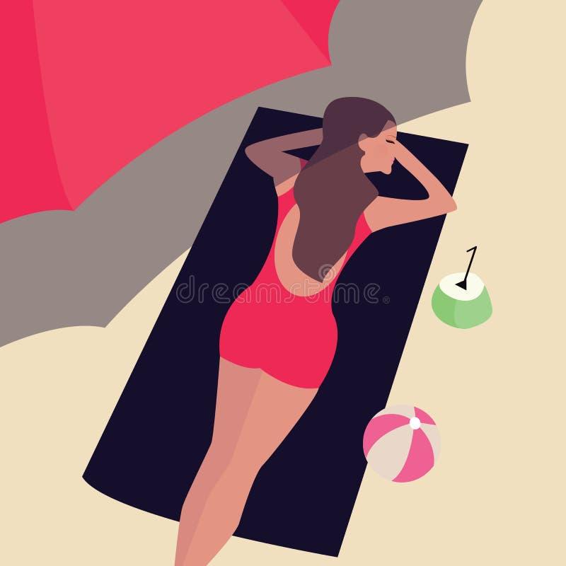 Femme de fille se trouvant au soleil de sable de plage se bronzant sous l'ombre de parapluie illustration de vecteur