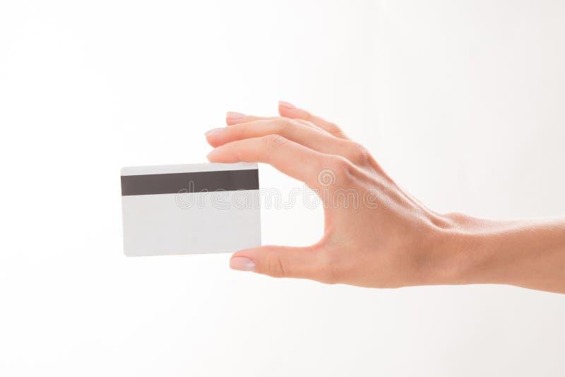 femme de fixation de crédit de carte photo libre de droits